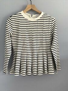 English Factory Women's Black White Striped Top Peplum Pleated Blouse Shirt XS