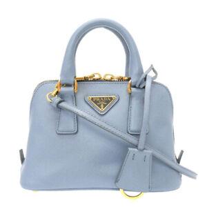 AUTHENTIC PRADA 1BH851 Mini bag promenade Hand Bag blue Leather 0079