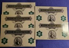 LOT OF (5) 2015 USA $2 TWO DOLLAR FEDERAL RESERVE NOTES UNC