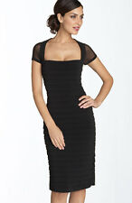 NEW MAGGY LONDON Illusion Back Pleated Matte Jersey DRESS 6P BLACK LACE