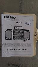 Casio cd-960 service manual original repair book stereo tape deck boombox COPY