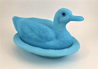 Westmoreland Satin Blue Milk Glass Duck on Nest Covered Dish w/ GLASS EYES