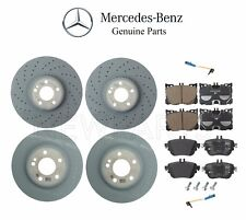 For Mercedes W213 E300 Front & Rear Brake Pad Sets & 2 Disc Rotors & Sensors Kit
