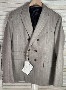Eleventy Blazer Men/'s 52 US Size 42 SALE! Blue Slim Fit Twill Linen
