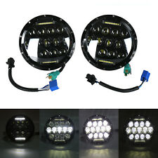 "Pair 7"" INCH 75W LED Headlight Hi/Lo Beam DRL Fits Jeep Wrangler CJ JK LJ"