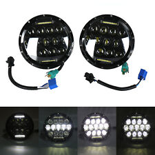 "Pair 7"" INCH 75W LED Headlight Hi/Lo Beam DRL Fit Jeep Wrangler CJ JK LJ"