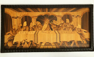 """MEXICAN FOLK ART LAST SUPPER POPOTILLO POPOTE CARRIZO BAMBOO PAINTING 32 x 16"""""""