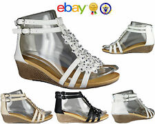 LADIES WOMENS STRAPPY GIRLS GLADIATOR FLOWER DAIMENTE CASUAL WEDGE SANDALS SIZE