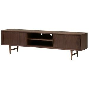 "78.8"" L Media Console Modern Contemporary Solid Walnut Doors Wood Veneer"