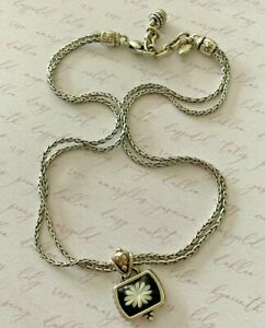 """Brighton WATER LILY Black Rectangle White Flower Double-Chain Necklace 18"""""""
