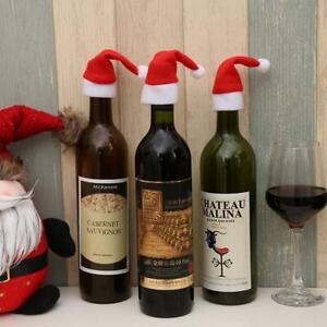 Christmas Hat Wine Bottle Topper Cute Mini Red White Santa Decoration Gift Idea