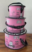 Set Of 3 Hat Box Pink House Nested Rounded Decorative Storage Boxes
