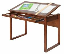 Drafting Desk Drawing Table Solid Wood Glass Top Hobby Craft Board Tablet Slant