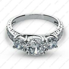 Stone Engagement Ring 14k White Gold Finish New listing 3.00 Tcw Round Def Moissanite Three
