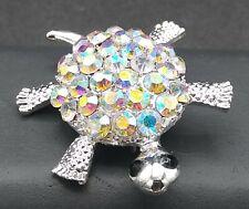 Pink Rhinestone Turtle Brooch Pin