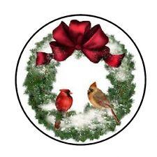 48 CHRISTMAS WREATH 3 ENVELOPE SEALS LABELS STICKERS 1.2