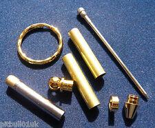 Woodturning Keyring Kits with Twist Pen  x 3 - Gold