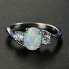 Exquisite Women 925 Silver Wedding Oval Cut Opal  Rings Jewelry Size 6-10