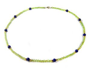 Glamorous Precious Stone Necklace IN Peridot And Spacer Beads From Lapislazuli