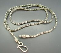 "SUARTI BALI BA Sterling SIlver WHEAT SPIGA CHAIN NECKLACE Flexible 24"" S CLASP"