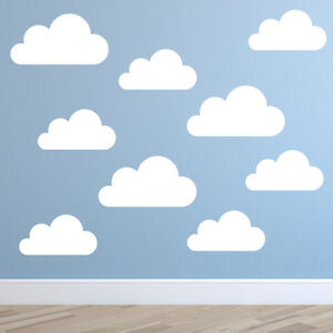 Set of Large Clouds Wall Decal – Cloud Wall Stickers - Nursery Stickers