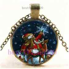 Vintage Xmas Snowman And Elk Cabochon Glass Bronze Chain Pendant Necklace