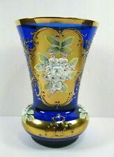 Blue cobalt glass Bohemian vase gold gilded raised porcelain flowers wide mouth