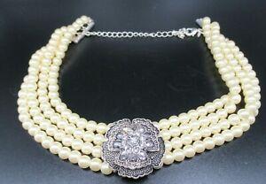 Avon 4 Strand Faux Pearl & Ornate Diamante Choker Necklace Edwardian Style