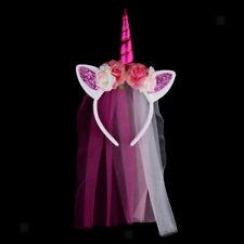 Women Girls Unicorn Headband Horn Flower Veil Hairband Party Hair Accessory