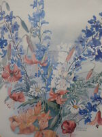 WATERCOLOUR DELICATE FLOWERS ARTIST FRANCIS TURNER 1930,S FREE SHIPPING ENGLAND