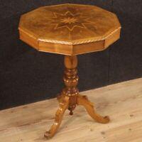 Tavolino mobile in legno intarsiato tavolo basso salotto antico 800 XIX secolo