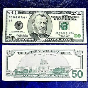 1996 $50 ERROR MISALIGNED/ MISCUT, VINTAGE 27 YEARS OLD BUT IN GOOD CONDITION