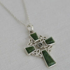 Sterling Silver and Connemara Marble Irish Celtic Cross Pendant by Solvar