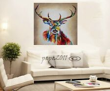 Graffiti Street Art stag deer moose rainbow Print Large Canvas Painting Pepe