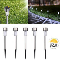 Outdoor Garden Stainless Steel LED Solar Power Light Lawn Landscape Path Lamp