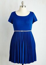 Yellow Star Sapphire Blue Short Sleeve Belted Retro Vintage Dress Plus Size 4X