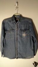 Harley Davidson Blue, Cotton, LS, Embroidered, Snap Front Shirt, Mens Small
