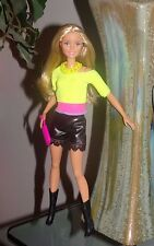 Barbie Doll Clothes Neon Yellow Top Black Leather Look Shorts Boots & More CUTE!
