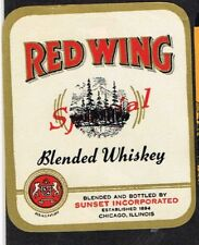 Unused 1940s ILLINOIS Chicago Sunset Inc RED WING BLENDED WHISKEY Label Bird
