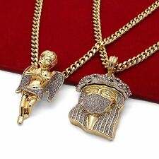 "Men's 14k Gold Plated High Fashion 2 pcs JESUS CZ & ANGEL 30"" & 24"" Cuban Chain"