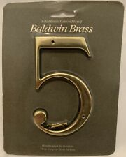 """Baldwin Brass 5"""" House Number 5 Solid Forged Brass New"""