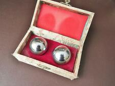 A Boxed Pair Of Mid 20th c Chinese Chromium Stress Balls, Boading Chiming Balls