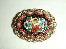 Pretty Floral Vintage Micro Mosaic Pin Back brooch with filigree edge