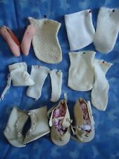 LOT- SHOES AND SOCKS MOST ARE VINTAGE- BALLET, BOOTS,SHOES, SOME PAIRS, SOME ODD