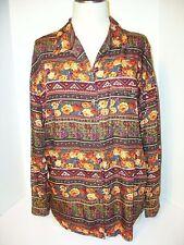 Women's Liz Wear  Blouse Button Down Long  Sleeve Floral 100 % Rayon Size L