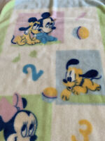 Mickey & Minnie Mouse & Pluto 1 - 2 - 3 Baby Blanket Vintage
