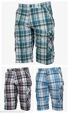 Karierte Herren-Cargo-Shorts aus Baumwollmischung
