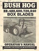 BUSH HOG BB-480 600 720 840  BOX BLADES  OPERATOR'S MANUAL 90962
