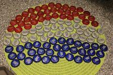100 BUD MICH ULTRA BUD LIGHT RED WHITE BLUE BEER UNCRIMPED BEER BOTTLE CAPS FLAG