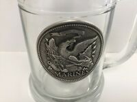 USMC Marines Mug with Pewter Emblem Beer Cup Coffee Glass